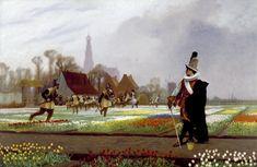 Holländska soldater trampar ner tulpanfält, i ett desperat försök att stoppa prisfallet när 1630-talets tulpanbubbla just spruckit.
