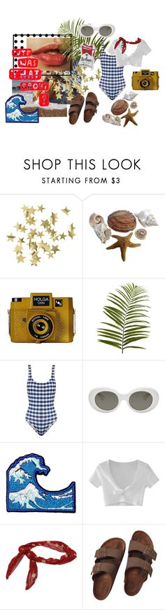 """""""++ BEACH DAY ++"""" by maria-figueiredo ❤ liked on Polyvore featuring H&M, Holga, Pier 1 Imports, Solid & Striped, Acne Studios, WithChic, Miss Selfridge and Birkenstock"""
