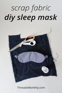 """Make this useful scrap fabric / fat quarter project - a comfy sleep mask. Great for daytime naps! This DIY uses 11"""" squares of fabric and batting, plus a strip of fabric for the elastic casing (optional). This is a quick and easy project to sew. Great for beginners. The free pattern is slightly oversized, so it will fit men and women. It would work well as an easy christmas gift too. Scrap Fabric Projects, Small Sewing Projects, Sewing Projects For Beginners, Cool Diy Projects, Fabric Scraps, Sewing Tutorials, Sewing Patterns, Fit Men, Sleep Mask"""