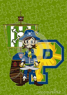 Cute Cartoon Pirate Captain with Crossed Swords Learning Letter P   An EPS file is also available