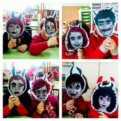 Màscares de dimoni dibuixant amb retoladors a sobre els nostres retrats.