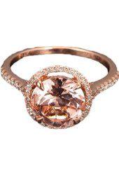 Round Morganite Engagement Ring Pave Diamond Wedding 14K Rose Gold 8mm