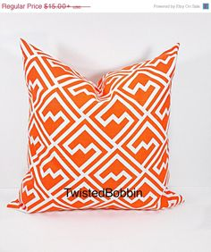 On SALE Pillow Cover.Tangelo shakes pillow by TwistedBobbinDesigns
