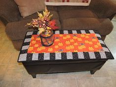 Quilted HALLOWEEN Runner in Orange Black and White