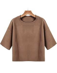 Khaki Round Neck Short Sleeve Knit Sweater 21.67
