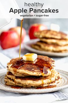 If you are ready for a bit of fall coziness, then these healthy apple pancakes are going to be your new favorite breakfast! They are made with whole-grain flour, oats, buttermilk, and shredded fresh apple and spices! They cook up to be light and fluffy yet hearty! #theendlessmeal #pancakes #applepancakes #apples #applerecipes #breakfast #brunch #fall #fallrecipes #backtoschool #healthybreakfast #refinedsugarfree #sugarfree #healthypancakes