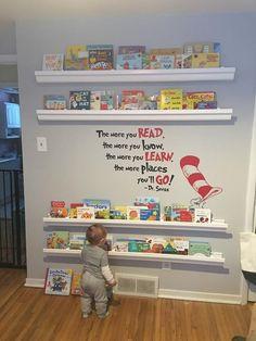 Create a kid-friendly reading corner - Kind - kinderzimmer Baby Bedroom, Nursery Room, Dr Seuss Nursery, Nursery Ideas, Baby Girl Bedroom Ideas, Book Themed Nursery, Baby Girl Nursery Themes, Bedroom Decor, Baby Room Diy