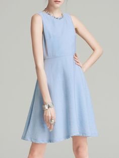 #AdoreWe #StyleWe Midi Dresses - Designer VC Light Blue Sleeveless Solid Midi Dress - AdoreWe.com