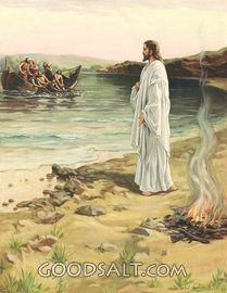 "The Risen Christ and His Disciples. John 21:4-6. The Miraculous catch of fish. ""Just as day was breaking, Jesus stood on the beach, yet the disciples did not know that it was Jesus. Jesus said to them.""Children, have you any fish?"" They answered him, ""No."" He said to them, cast the net on the right side of the boat, and you will find some."" So they cast it, and now they were not able to haul it in, for the quantity of fish...""...... !!!!"