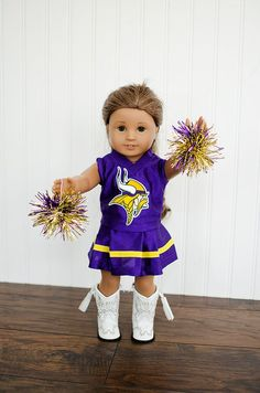 American Girl Doll NFL Vikings cheerleader outfit with pom poms 6bb1ad527