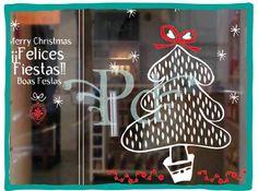 Ploteo Navidad, Vinilos, Vidrieras, Decoracion, Promocion