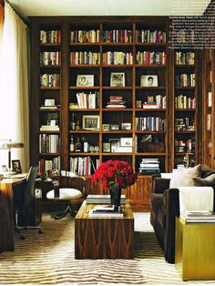 Rosewood Shelf Lined Library Of Manhattan Apartment Designed By Architect Timothy Archambault And Decorated Nina Seirafi Photo Pieter Estersohn
