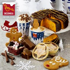 Insomnia's Christmas Bakery UK: Mince Pies, Gingerbread Biscuits, Golden Caramel Bar, Red Velvet Rockslide, Sticky Chocolate and orange cake. Hazelnut Hot Chocolate and Red Velvet Hot Chocolate! Caramel Bars, Mince Pies, Insomnia, Gingerbread Cookies, Hot Chocolate, Red Velvet, Biscuits, Bakery, Product Launch