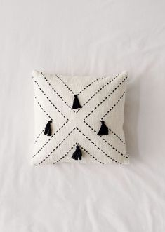 Shop Nora Stitched Tassel Throw Pillow at Urban Outfitters today. Diy Throw Pillows, Fall Pillows, Boho Pillows, Decorative Pillows, Black Throw Pillows, Burlap Pillows, Hand Embroidery, Embroidery Designs, Pillow Embroidery