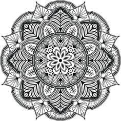 mandala, zentangle inspired illustration, black and white