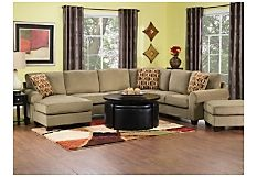 Casey 4- Piece Corded Microsuede Sectional w/ Left-Facing Chaise - Mocha