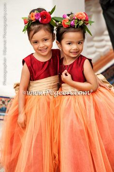 2014 Garden Wedding & Flower Girl Dresses in reds and golds - style 402 by Pegeen Couture. Available from infants thru plus sizes in 200+ colors of silk and sleeve choices.