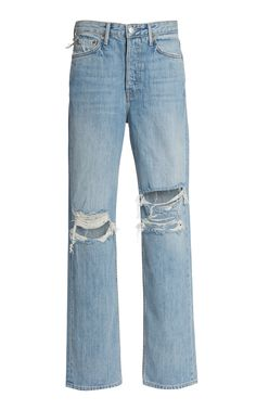 GRLFRND Denim is a fan of blending vintage styles with modern details, evident in the 'Mica' pair. Painted Jeans, Wrangler Jeans, Crop Blouse, Punk, Midi Skirts, Denim Overalls, Shorts, Distressed Denim, Distressed Clothes