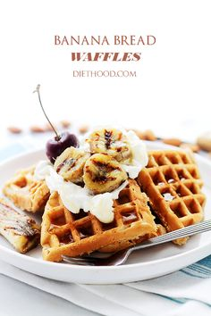 Banana Bread Waffles   www.diethood.com   The sweet and delicious taste of Banana Bread in a Waffle!