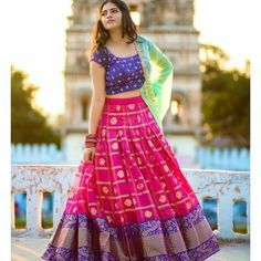 pink printed banglori silk festival lehenga choli WhatsApp us for Purchase & Half Saree Lehenga, Lehnga Dress, Bridal Lehenga Choli, Silk Lehenga, Lehenga Blouse, Indian Anarkali, Lehenga Skirt, Blue Lehenga, Silk Dupatta