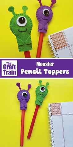 Monster Pencil Topper Craft For Kids. This Is A Fun Sewing Project For Kids Which Makes A Great Back To School Or Halloween Craft Idea. The Finished Pencil Topper Also Makes A Cute Handmade Gift Idea Sewing Machine Projects, Crafts For Kids To Make, Sewing Projects For Beginners, Pencil Topper Crafts, Pencil Toppers, Monster Crafts, Craft Activities For Kids, Childcare Activities, Sewing For Kids