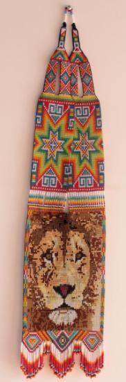 collar tejido en mostacillas - leon.  mostacillas,hilo tejido Beaded Jewelry, Beaded Necklace, Beaded Bracelets, Loom Patterns, Beading Patterns, Native Beadwork, Folded Up, Loom Beading, Hand Embroidery