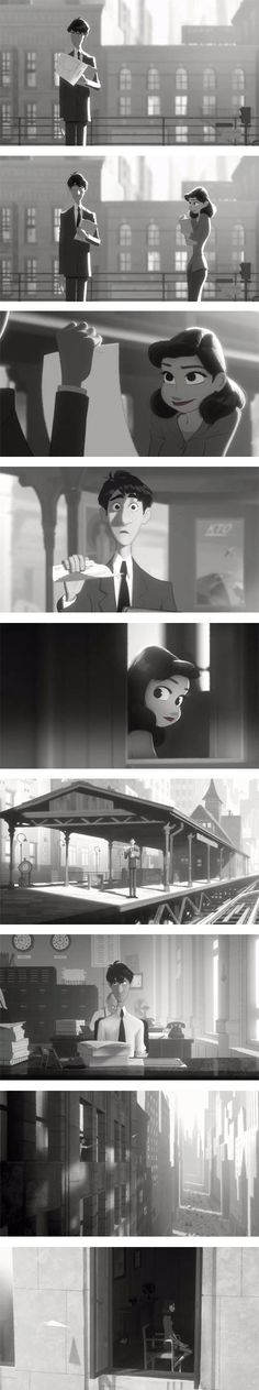 """""""Paperman,"""" animation art for paper airplane short film."""
