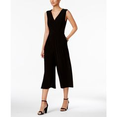 Nine West Surplice Cropped Jumpsuit ($89) ❤ liked on Polyvore featuring jumpsuits, black, cropped jumpsuit, dressy jumpsuits, jump suit, fancy jumpsuits and nine west