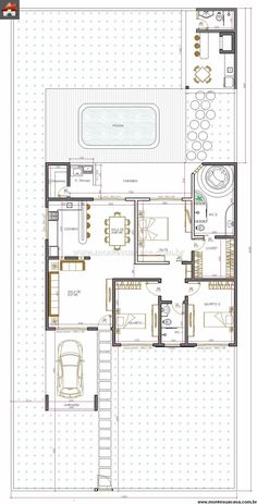 Casa 3 Quartos - 147.02m² - Projeto perfeito. Arejada, com piscina e térrea. Tudo o que quero.