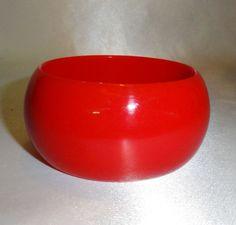 Glossy Wide Red Plastic Bangle Bracelet