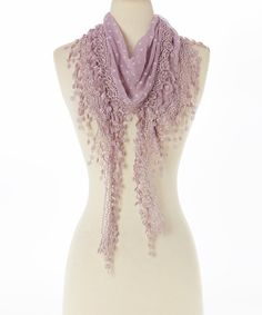 Love this Purple Floral Lace-Fringe Linen-Blend Scarf on #zulily! #zulilyfinds