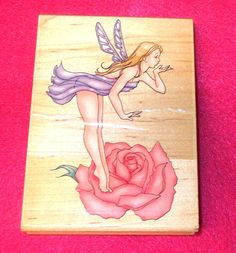 Inkadinkado fairy rubber stamp rose fairies fantasy lady wings Nancy Cole 9076 Y