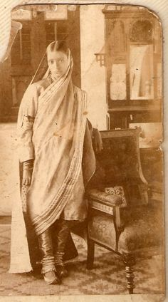 Vintage photo of woman in salwar kameez; note the modest dupatta drape