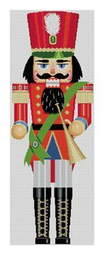 30″ high nutcracker for 2012, hand painted on #13. Contact Susan Roberts Needlepoint Designs at http://www.susanrobertsneedlepoint.com/ for wholesale information.
