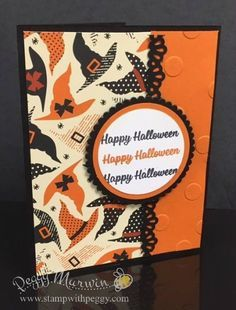 The Spooky Nights designer paper stands on its own — it can be the main focus of your card like this card created by team member Amanda. All the fun dancing witches hat draw my eyes right into the card. The Happy Halloween comes from the Spooky Cats stamp set … Fall Cards, Holiday Cards, Thanksgiving Cards, Christmas Cards, Homemade Halloween, Halloween Cat, Happy Halloween, Halloween Witches, Halloween Wreaths