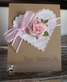 Pretty Brown Kraft Valentine Card...with a scalloped edge heart.