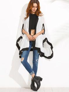White Contrast High Low Hooded Kimono