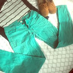 Teal skinny jeans Size 3 teal skinny pants that I bought from a boutique. GUC. Still have a lot of life left! Jeans Skinny