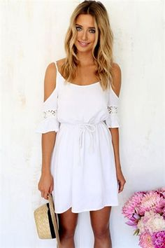 Material: Chiffon Color: White Collar: O-neck Pocket: No Sleeve: Half Sleeve Style: Casual Zipper: No Dress Length: Above Knee Pattern: Solid Decoration: Strap, Lined Occasion: Casual, Party Garment C