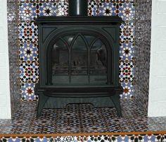New kitchen tiles spanish stove Ideas Fireplace Hearth Tiles, Wood Burner Fireplace, Fireplace Surrounds, Fireplace Design, Cosy Fireplace, Fireplace Ideas, Wood Stove Surround, Fire Surround, Best Kitchen Lighting
