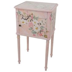 Floral Bedside in Pink ($595) ❤ liked on Polyvore featuring home, furniture, storage & shelves, nightstands, pink furniture, handmade wooden furniture, wood bedside table, pink painted furniture and painted nightstands