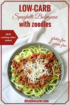 Family favourite low-carb spaghetti Bolognese with zoodles. UDPATE - now with a quick cooking video. Heathy family dinner that's low carb, gluten free, wheat free that is incredibly fresh and nutritious. | ditchthecarbs.com via @ditchthecarbs