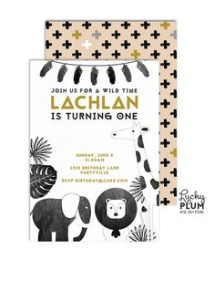 Safari Birthday Invitation / Animal Birthday Invitation / Zoo Birthday Invitation / Born To Be Wild / Boho Tribal Birthday Invitation