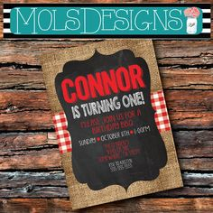 ANY Color BIRTHDAY PARTY Burlap Chalkboard Red GIngham Sunflower Mason Jar Barbecue Bbq 1st 2 3 Boy Girl Cow Bridal Baby Shower Invitation