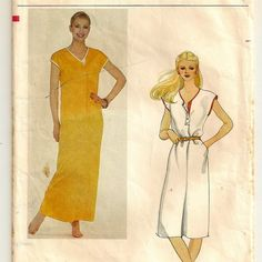 A Buttoned Band, Extended Sleeve, V-Neckline Loose Fitting Dress and Maxidress Pattern