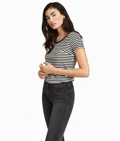 Check this out! Short-sleeved top in soft jersey with snap fasteners at side seams for easier nursing. Gently rounded hem. - Visit hm.com to see more.