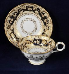 ANTIQUE 19th c. DAVENPORT LONGPORT TEA CUP AND SAUCER : Lot 86