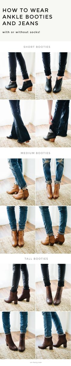 Tis the season for socks! In yesterday's post, we talked about three different pairs of ankle booties — short, medium, and tall. Today we're talking about how to style them with w…