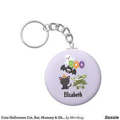 Cute Halloween Cat, Bat, Mummy & Ghost Keychain Cute Halloween, Party Hats, Keychains, Keep It Cleaner, Cool Designs, Personalized Items, Cats, Prints, Key Hangers