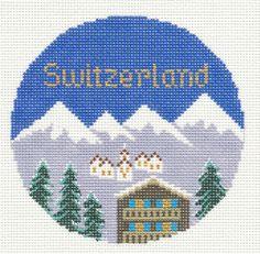 "Silver Needle SWITZERLAND  handpainted 4.25"" Needlepoint Canvas Ornament"